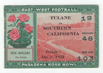 East-West Football 1932 Rose Bowl Ticket Stub - Tulane vs Southern California