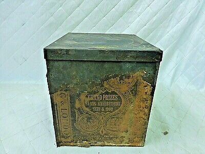 """Huntley Palmers Biscuit Tin Thin Captain Antique c. 1900 Large 9"""" Box w/ Paper"""