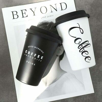stainless steel Coffee Cups Tea With Lid Travel Cup Mug Cafe black and white