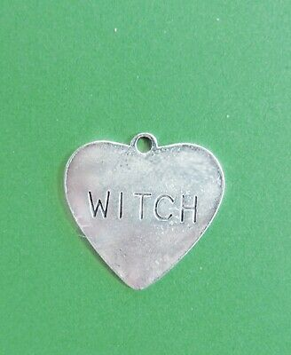"3 Wickedly Enchanting 1"" antiqued silver plated engraved ""Witch"" heart charms"