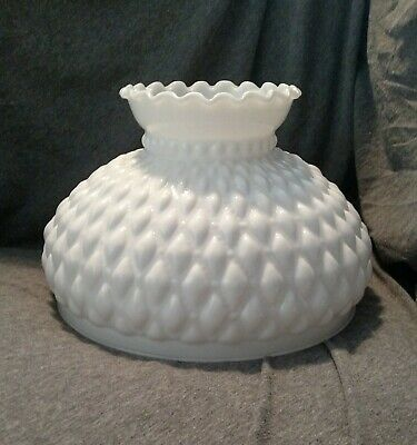 10 Inch Fitter Diamond Quilted Milk Glass Hurricane Aladdin Lamp Parlor Shade