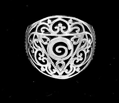 Vintage Sterling Silver Ring Filigree Round Sz 6