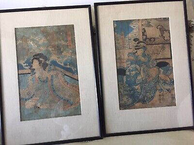Set of 2 Old Antique Japanese Woodblock Prints Print Asian Art Wood Block Signed