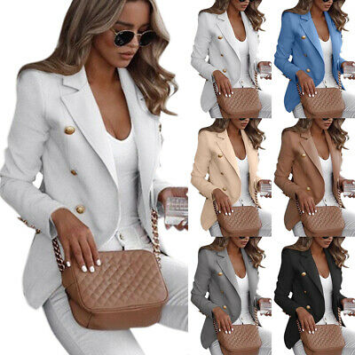 Plus Size Women Button Lapel Blazer Slim Casual OL Work Jacket Outwear Suit Coat