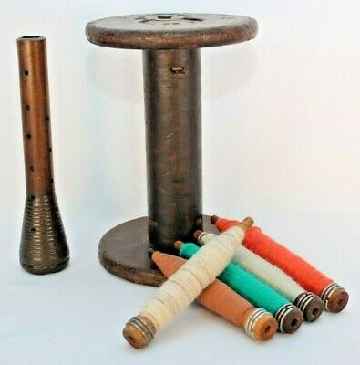 Vintage Wooden Spools Weaving Looms of Thread Lot of 7 Antiques Bobbin Spindle