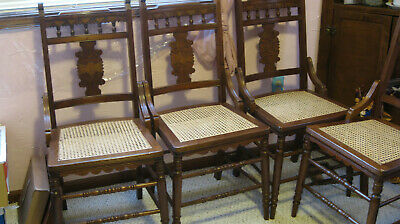 Antique Eastlake dining chairs x4, Victorian, Farmhouse look, caned