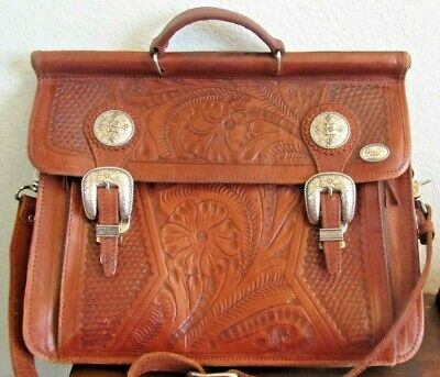 pre-owned AMERICAN WEST HAND-TOOLED LEATHER ATTACHE BRIEFCASE MESSENGER BAG