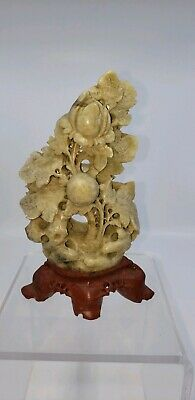 Vintage Oriental Soapstone Carving On Pedestal Flowers Good Condition.