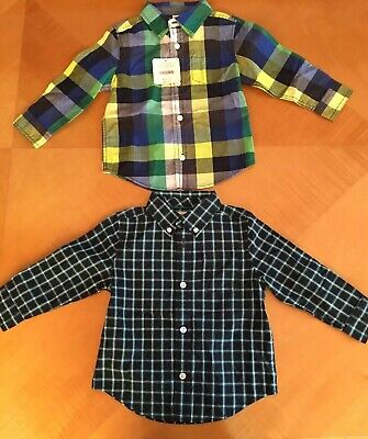 Lot Of 2 Gymboree Plaid long sleeve Shirts Toddler Boy 18-24month, New w/tags