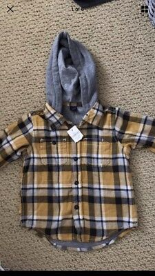 babyGap Infant/Toddler Boy Hooded Plaid Shirt - Size 18-24 Months