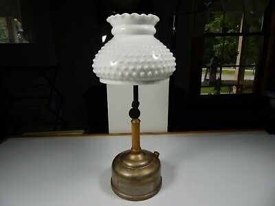 antique GAS PRESSURE TABLE LAMP Lantern Milk Glass SHADE 1920's Coleman Fuel