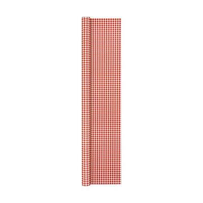 Paper Tablecloth Airlaid Roll Red White Checked 500x120cm Home Fashion