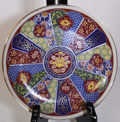 "6"" Vintage Hand Painted Japanese Imari Porcelain Plate Blue Red Asian Patterns"