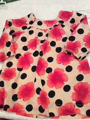 Baby Gap 12-18 month Dress Coral and Black Floral Long Sleeves Barely Worn