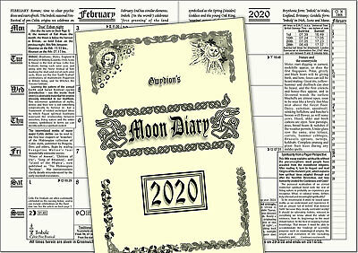 The Unique Witches' & Pagan GWYDION'S MOON DIARY - 2020 edn. U.K. times & dates.