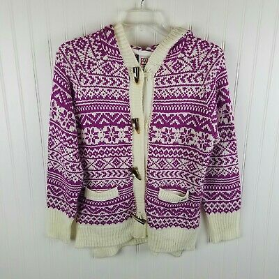 Avalanche Hooded Sweater Jacket Pink & White with Toggle Buttons Size Medium