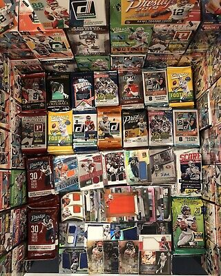 100 Football Cards in Unopened Packs + a Guaranteed Jersey or Autographed Card