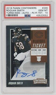 Roquan Smith 2018 Contenders Rookie Playoff Auto #7/99 Psa 10 Gem Mint Bears Rc