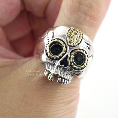 Men 925 Sterling Silver Gothic Sugar Skull Virgin Mary Ring Biker Punk A3180