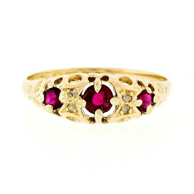 Antique Victorian British 18K Gold Old Round Cut Ruby & Diamond Petite Band Ring