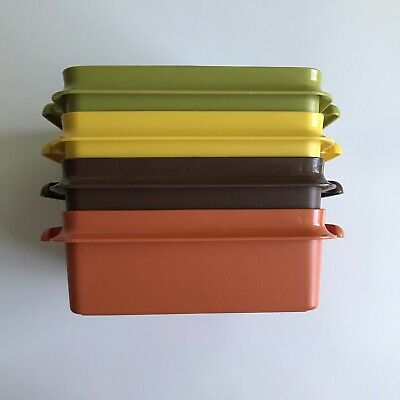 "4 Vintage Stackable Tupperware ""Square Away Sandwich Keepers"" Harvest Colors"