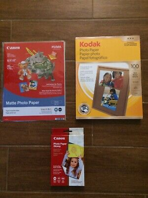 New NIP Lot 3 Canon 4x6 Kodak Photo Paper 100 8.5x11 & Sample Pack   200+ Glossy