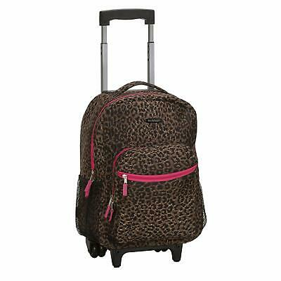 Rockland Luggage 17 Inch Rolling Backpack Pink Leopard One Size