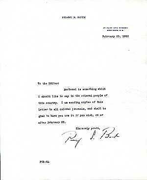 Pearl BUCK / Typed Letter Signed