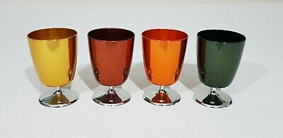 4 x Vintage Coloured Anodised Drinking Cup/Goblets made by Stokes Australia Melb