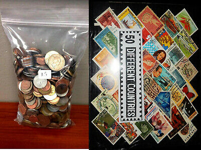 50pcs Lot Each/50 Different Countries Great Old Vintage World stamps + Coins set