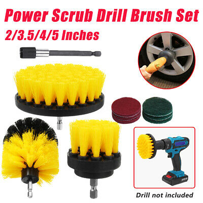 12Pcs Extended Power Scrubber Drill Cleaning Brush Tool Set Tub Cleaner
