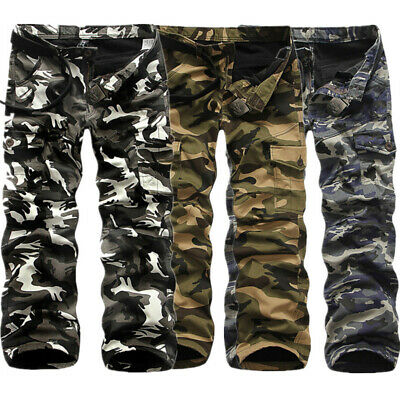 Warm Men Combat Work Pants Cotton Fleece Camo Military Army Cargo Trousers Hot