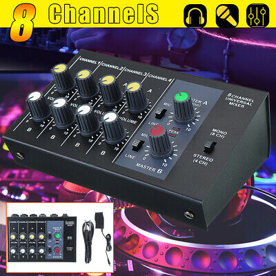 8 Channel Pro Live Studio Audio Sound Mixer USB Mixing DJ Console KTV