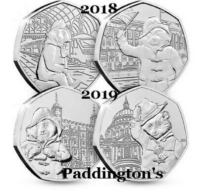 New 2019 Paddington Bear At The Cathedral . Tower . Station . Palace  50P Coin's