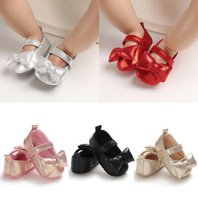 Hot Toddler Girl Crib Shoes Newborn Baby Bowknot Soft Sole Prewalker Sneakers AU