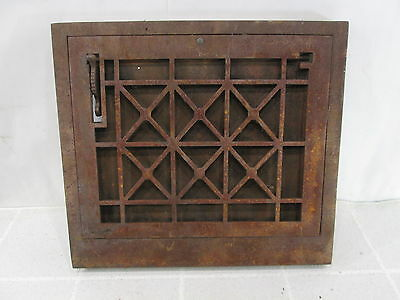 Vintage Cast Iron Cross Grid Wall Grate w/Damper ASG#1