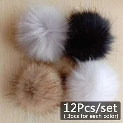 DIY 12Pcs 4 Faux Fur Pompoms For Hat Fluffy Keychain Fur Ball For Hat Accessory