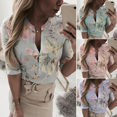 Women Blouse Floral Print Plus Size Party V-neck Holiday Formal Work Tops Casual