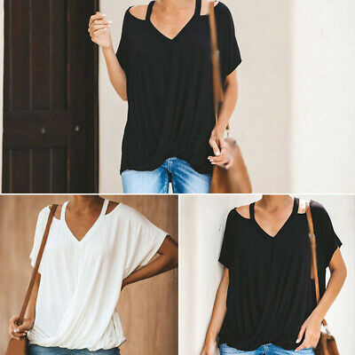 Women Tops Baggy Solid T-shirt Holiday Summer Short Sleeves Blouse Cold Shoulder