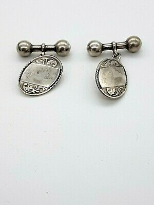 Sterling Silver Vintage Cuff Links With Bar