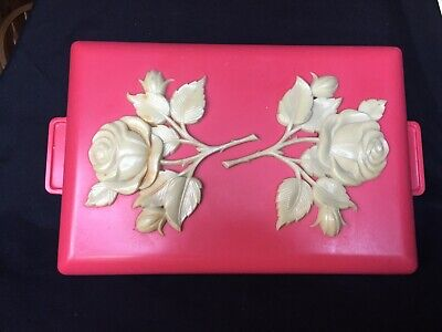 * Vintage  * Pink * Red * Bakelite  *celluloid * Lucite *roses Mint Jewelry Box