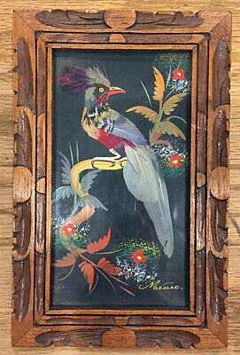 "Painting of Bird Gouache w/Collaged Feathers Vintage Mexico 5.5"" x 8.75"" Framed"