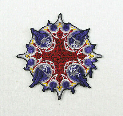 2 designs yellow orange; SEW-ON//IRON-ON *BN* embroidered OM PATCH; red