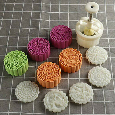 150g Cookie 4 Pcs Flower Stamps Moon Cake Mold Adjustable Cookie Press Cutter
