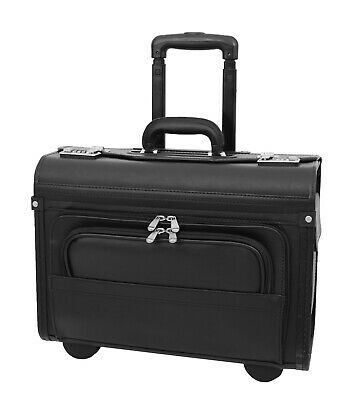 Wheeled Pilot Case Black Faux Leather Briefcase Business Travel Rep Cabin Bag