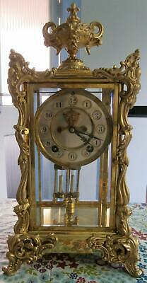 French Style Four Glass Visible Escapement Clock in Good Working Order
