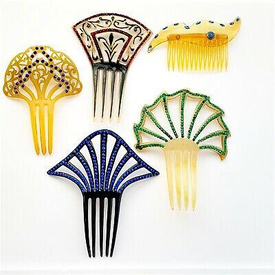 Lot of 5 Vintage Antique Celluloid Hair Combs  TLC /repair / study/ props