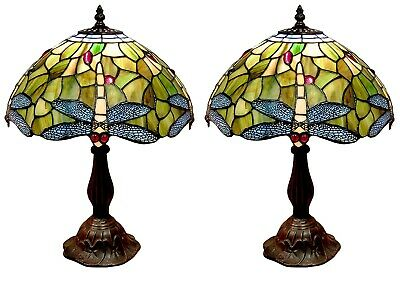 46Cm Pair/Tiffany Style Table Lamps Dragonfly Glass 30Cm Shades Free Light Bulbs