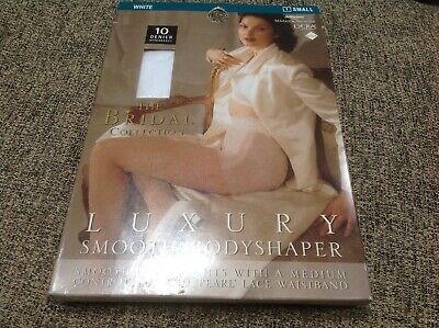 👠Vintage M&S St Michael Small The Bridal Collection🌸White BODYSHAPER Tights-🎊