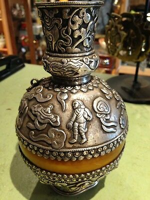 Tibetan Silver Ceremonial Holy Water Vessel With Carnelian****REDUCED!!